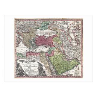 Mapa 1730 de Seutter de Turquía imperio otomano Tarjetas Postales