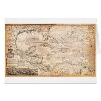 Mapa 1732 del Moll de Herman de las Antillas la Fl Tarjeta De Felicitación