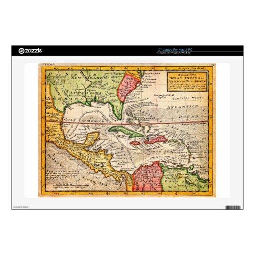 Mapa 1732 del Moll de Herman de las Antillas y del Calcomanías Para Portátiles