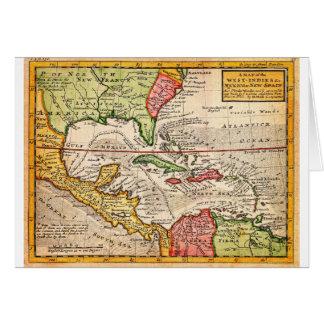 Mapa 1732 del Moll de Herman de las Antillas y del Tarjeta De Felicitación
