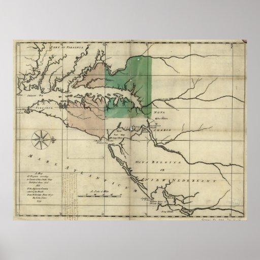 Mapa 1735 de Virginia y de nuevo Nederland (holand Póster