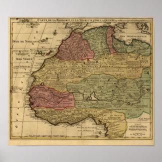 Mapa 1742 de la África del Norte del vintage Posters