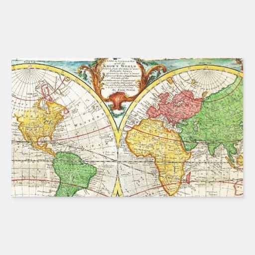 Mapa 1744 de Bowen del mundo en los hemisferios Rectangular Altavoces