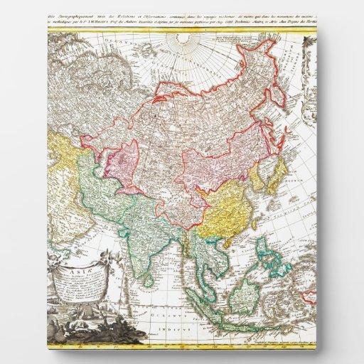 Mapa 1744 de los herederos de Homann de Asia Geogr Placa De Madera