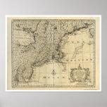 Mapa 1747 de Nueva Inglaterra New Jersey Nueva Yor Posters