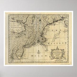 Mapa 1747 de Nueva Inglaterra New Jersey Nueva Yor Póster