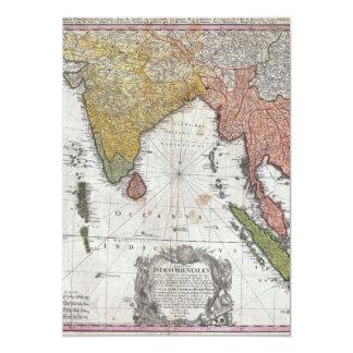 Mapa 1748 de los herederos de Homann de la India y Invitación 12,7 X 17,8 Cm