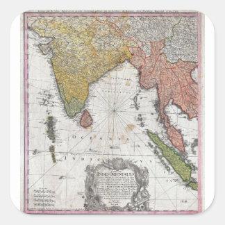 Mapa 1748 de los herederos de Homann de la India y Colcomanias Cuadradass