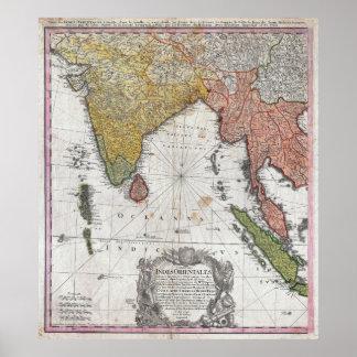 Mapa 1748 de los herederos de Homann de la India y Póster