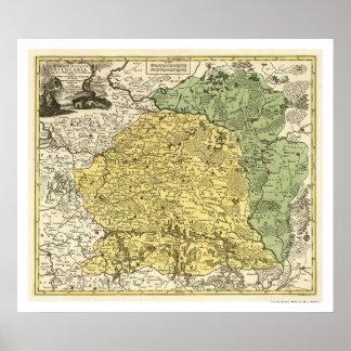 Mapa 1750 de Lituania Impresiones
