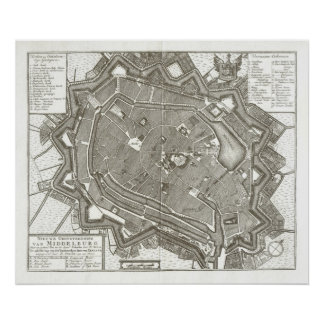 mapa 1751 de Middelburg, Países Bajos Impresiones