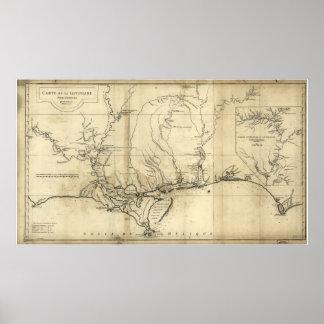 Mapa 1752 de Luisiana y de los estados sureños Posters