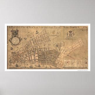 Mapa 1755 de la ciudad de Nueva York Poster