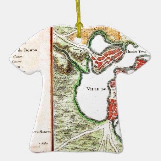 Mapa 1756 de Bellin de Boston Massachusetts Adorno De Cerámica En Forma De Camiseta