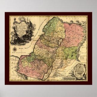 Mapa 1759 de Israel antiguo con las 12 tribus Posters