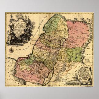 Mapa 1759 de Israel antiguo con las 12 tribus Póster