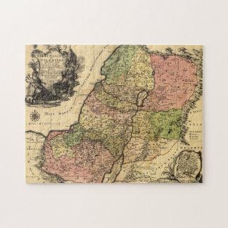 Mapa 1759 de Israel antiguo con las 12 tribus Puzzle Con Fotos
