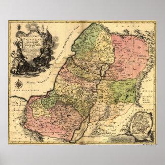 Mapa 1759 de la Tierra Santa Póster