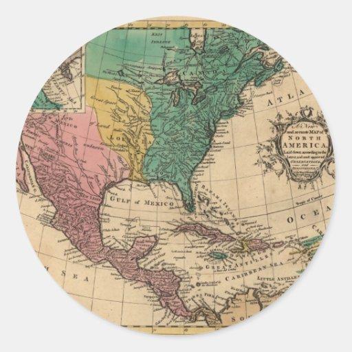 Mapa 1763 de Norteamérica Pegatina Redonda