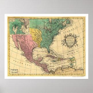 Mapa 1763 de Norteamérica Póster