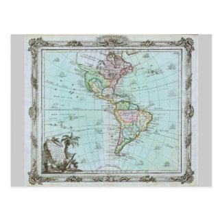 Mapa 1764 de las Américas de Louis Brión de la Tarjeta Postal