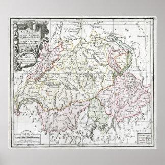 Mapa 1764 de Suisse del La Impresiones