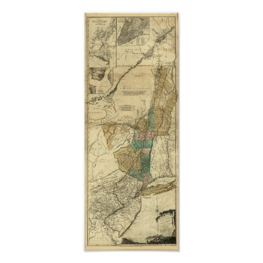 mapa 1776 de Nueva York, de New Jersey y de Quebec Póster