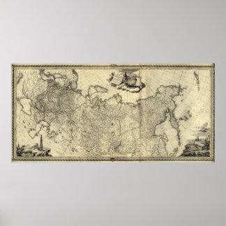 Mapa 1776 de Rusia y de Alaska Póster