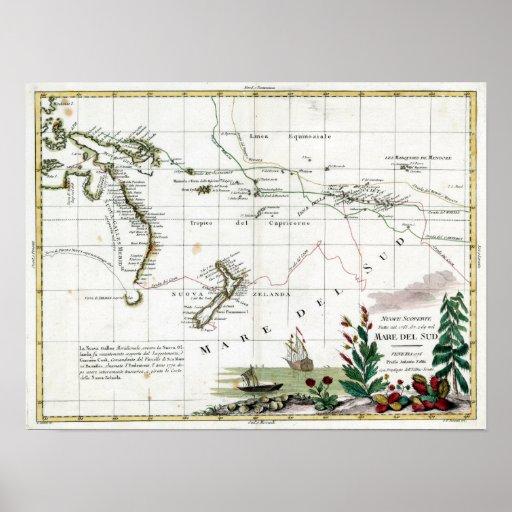Mapa 1776 de Voyages de capitán Cook's Póster