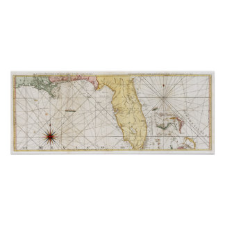 Mapa 1777 de la Florida Póster