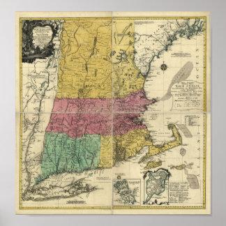 Mapa 1777 de Nueva Inglaterra del vintage Póster