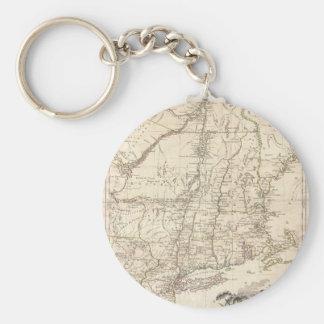 Mapa 1777 de Nueva Inglaterra Llavero Redondo Tipo Pin