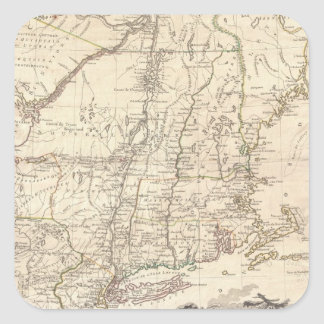 Mapa 1777 de Nueva Inglaterra Pegatina Cuadrada