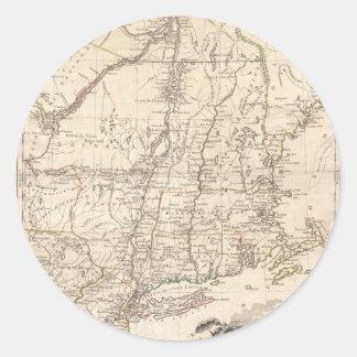 Mapa 1777 de Nueva Inglaterra Pegatina Redonda