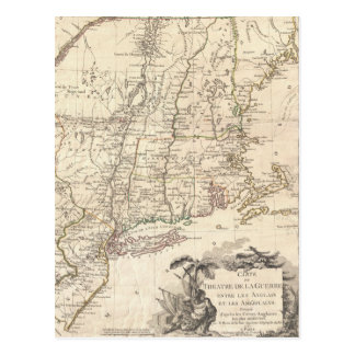 Mapa 1777 de Nueva Inglaterra Tarjetas Postales