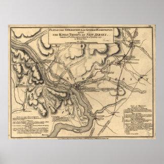 Mapa 1777 del campo de batalla de George Póster