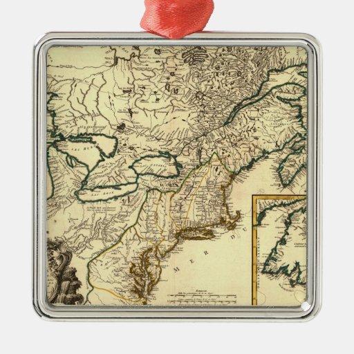 Mapa 1778 de Canadá y de los Estados Unidos Adorno Cuadrado Plateado
