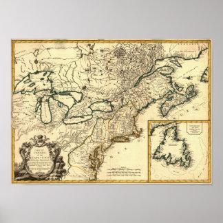 Mapa 1778 de Canadá y de los Estados Unidos Póster
