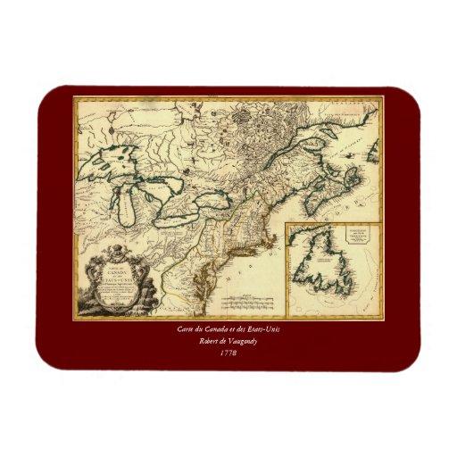 Mapa 1778 de Canadá y de los Estados Unidos Rectangle Magnet