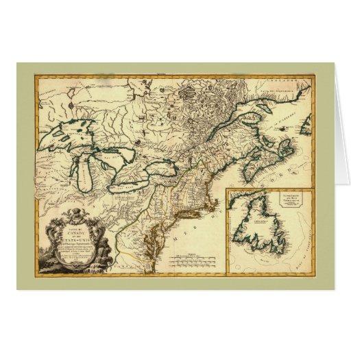 Mapa 1778 de Canadá y de los Estados Unidos Tarjeta De Felicitación