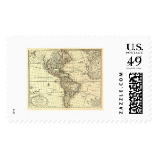 Mapa 1780 del hemisferio occidental sellos postales