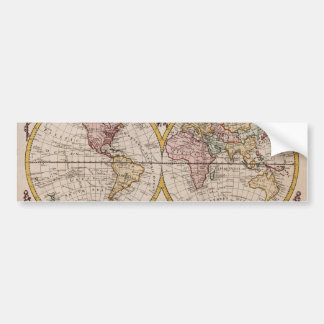 Mapa 1782 del mundo de George Augustus Baldwyn Pegatina De Parachoque