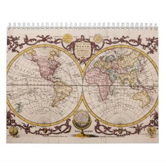 Mapa 1782 del mundo de George Augustus Baldwyn Calendario De Pared