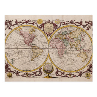 Mapa 1782 del mundo de George Augustus Baldwyn Postales