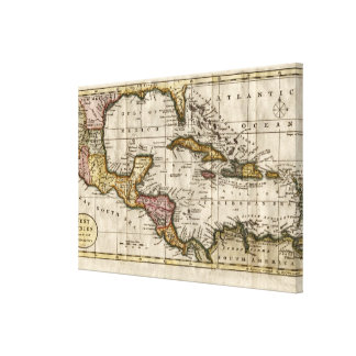 Mapa 1790 de las Antillas del fenómeno y de Impresiones En Lona