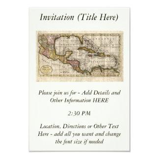 """Mapa 1790 de las Antillas del fenómeno y de Invitación 3.5"""" X 5"""""""