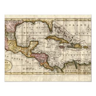 """Mapa 1790 de las Antillas del fenómeno y de Invitación 4.25"""" X 5.5"""""""