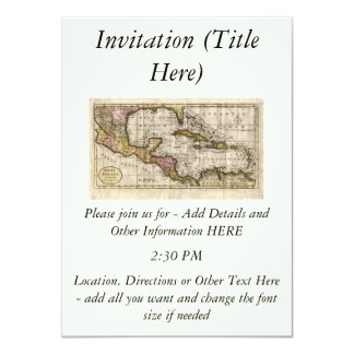 """Mapa 1790 de las Antillas del fenómeno y de Invitación 4.5"""" X 6.25"""""""