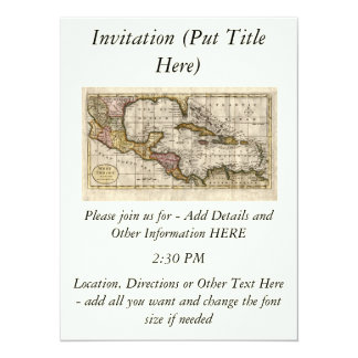 """Mapa 1790 de las Antillas del fenómeno y de Invitación 5.5"""" X 7.5"""""""