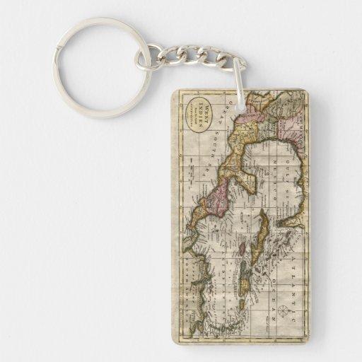 Mapa 1790 de las Antillas del fenómeno y de Llavero Rectangular Acrílico A Doble Cara